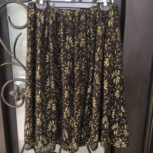 painted threads Skirts - Painted Threads Black Pleated Gold Floral Skirt